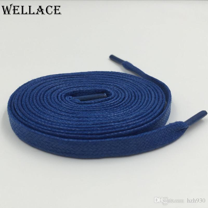 Wellace high quality Fashion Blue flat waxed cotton shoelaces waxed lacing cord wax thin shoelaces 160cm for Boots Leather shoes
