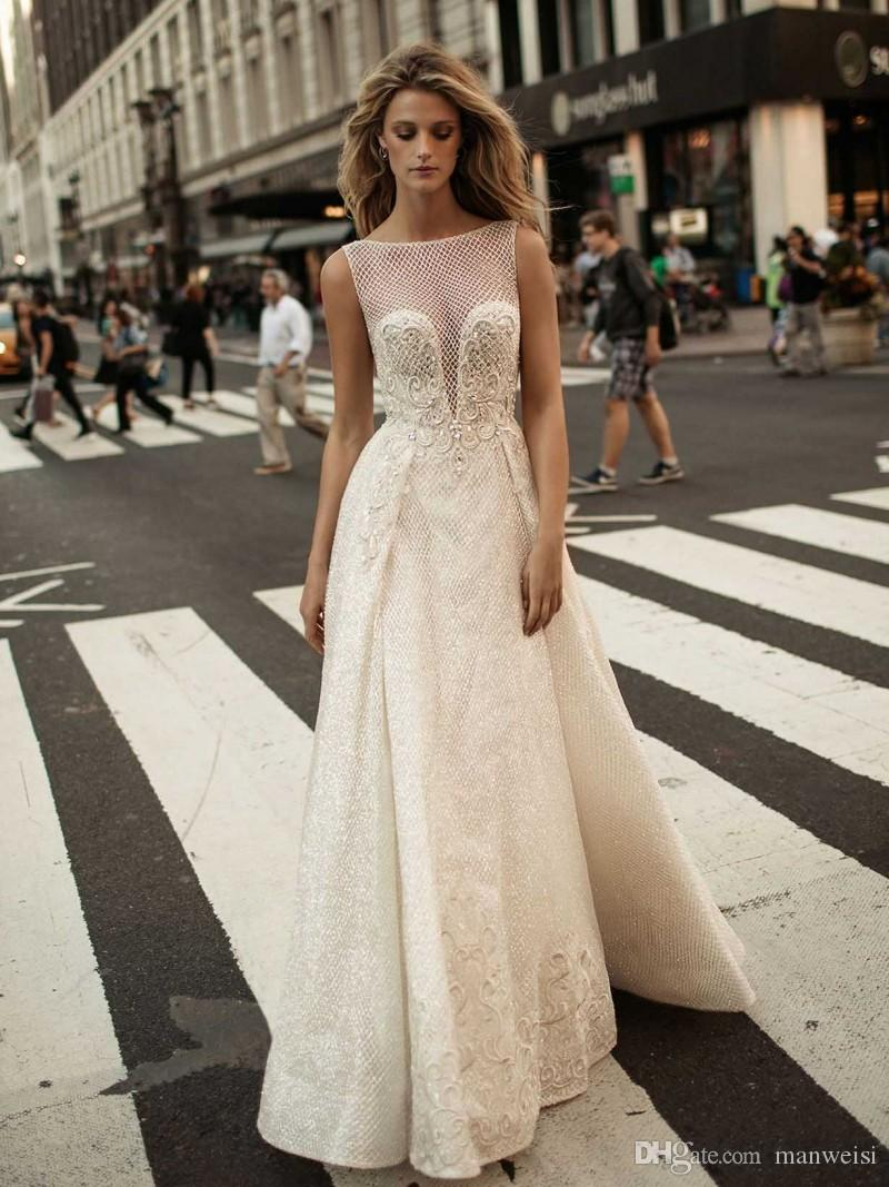 2017 Berta Pearls Overskirts Wedding Dresses Appliqued Net Plus Size Backless Bridal Gowns A Line Wedding Dress