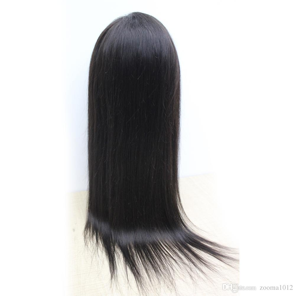 "Human Hair Wigs Brazilian Virgin Straight Full Lace Wigs 130% Density 1B Lace Front Wigs for Black Women 10""-30"""