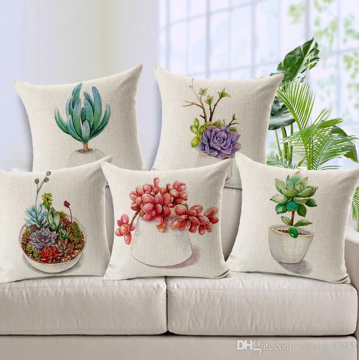 Charmant Home Office Succulent Plant Cushion Cover Cute Botanical Almofada Pot  Bonsai Throw Pillow Case For Sofa Couch Modern Cojines Replacement Patio  Cushions ...