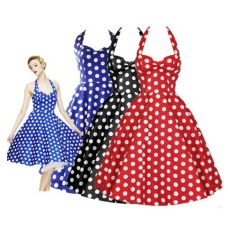 f9b7bdb8818d9 Women Summer Dress 2017 Rockabilly Audrey Hepburn Tunic Robe Casual Ball Gown  Clothing Vestidos 50s Vintage Polka Dot Dresses Feminino Long Black Dress  ...