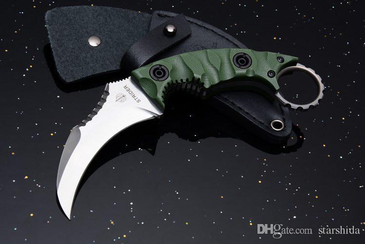 Neue Strider Defensive Karambit Überleben Gerade Messer D2 Klinge G10 Griff Outdoor Taktische Camping Jagd Taschenmesser mit Ledertasche