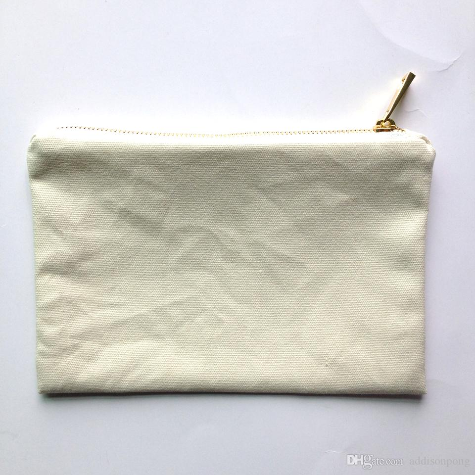 solid color canvas makeup bag with gold zip gold lining 6*9in cosmetic bag for DIY print black/white/grey/pink/navy/mint color