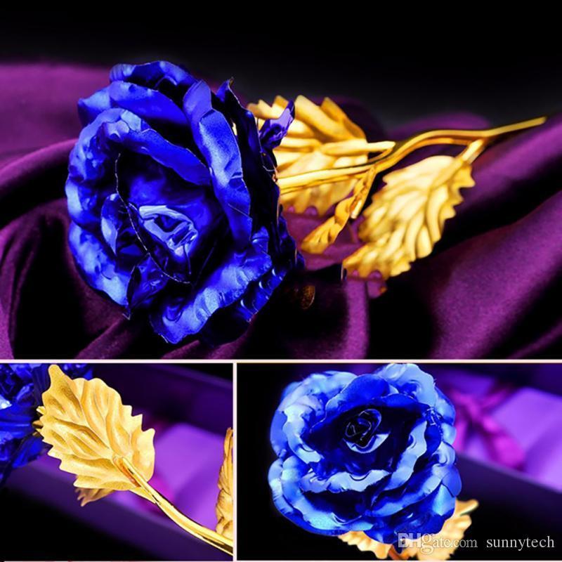 Presentes Dia dos Namorados 24 k Folha De Ouro Flor Rosa Artesanais Artesanais Mergulhado Longo Amante Da Haste Do Casamento Para Os Amantes Presente LZ0046