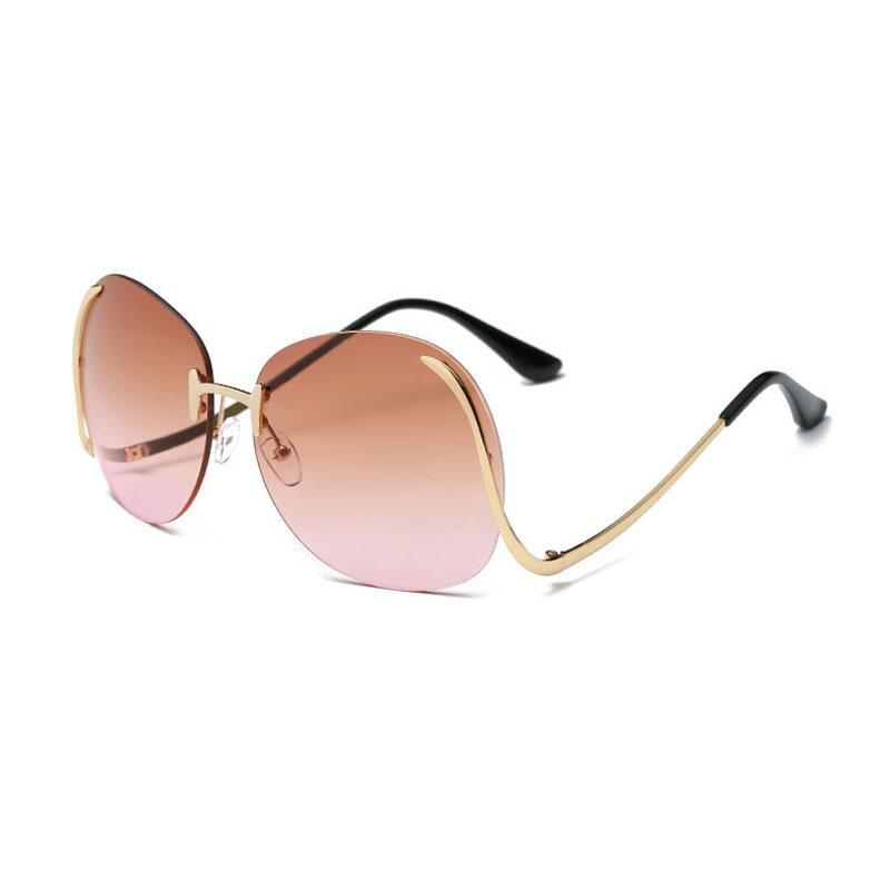 5ea6f6e633 New Fashion Occhiali da sole senza montatura oversize Donna Fashion Optics  Occhiali da vista senza montatura in metallo Occhiali da sole rotondi ...