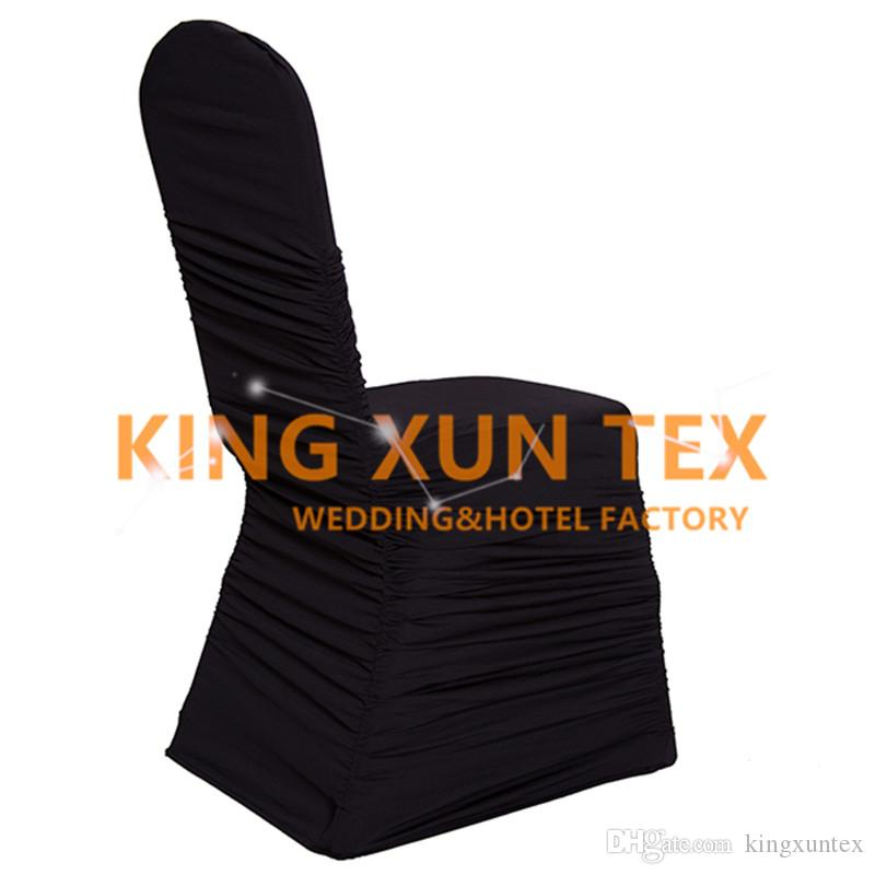 Nice Looking Ruffled Pleated Lycra Spandex Chair Cover Factory Wholesale Price For Wedding Decoration