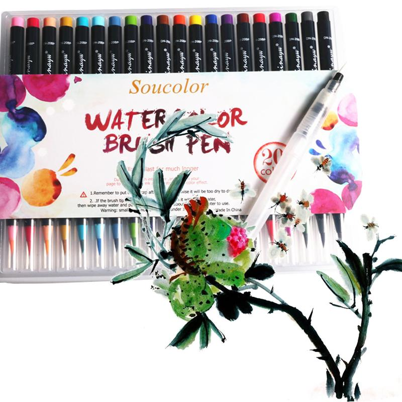 20Color Premium Pittura Soft Brush Pen Set Acquerello Arte Copic Marker Pen Effect Migliori libri da colorare Manga Calligrafia comica
