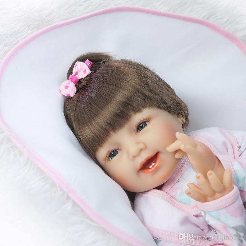 22 Zoll Silikon Reborn Baby Puppen Weiche Tuch Körper Mode Spielzeug Für Mädchen Geburtstag Weihnachten Geschenke Brinquedos
