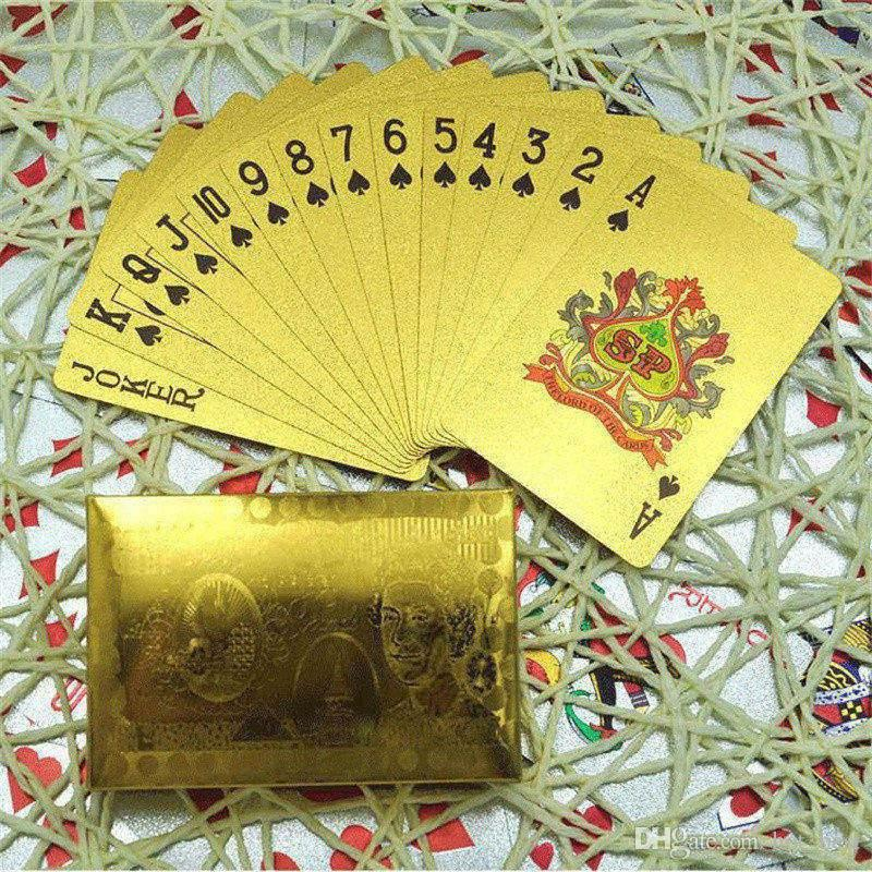 Hot Durable Waterproof Plastic Playing Poker Cards 24K Gold Foil Plated Playing Cards Poker Table Games Christmas Gifts US Dollar Euro Style
