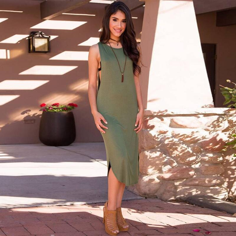 Plus Size Maxi Dresses 2017 New Summer Wear Sleeveless Dresses In