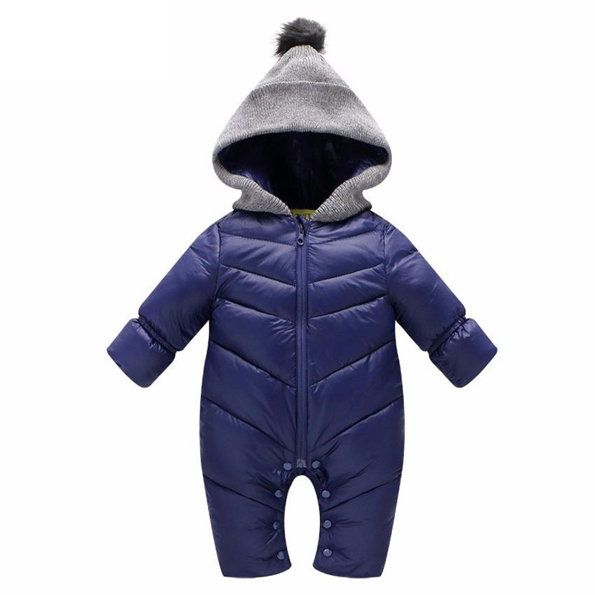 Unisex Boy Girl Baby Rompers Winter Thick Warm Clothing Long Sleeve Hooded Jumpsuit Duck Down Kids Newborn Outwear