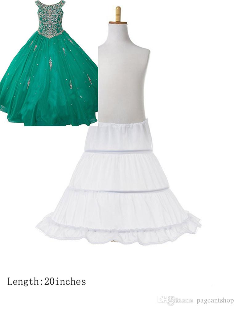 Girls 3 Hoop Flower Kids Pageant Dress Underskirt Child A Line Ball Gowns Petticoat Lace Edge Skirts