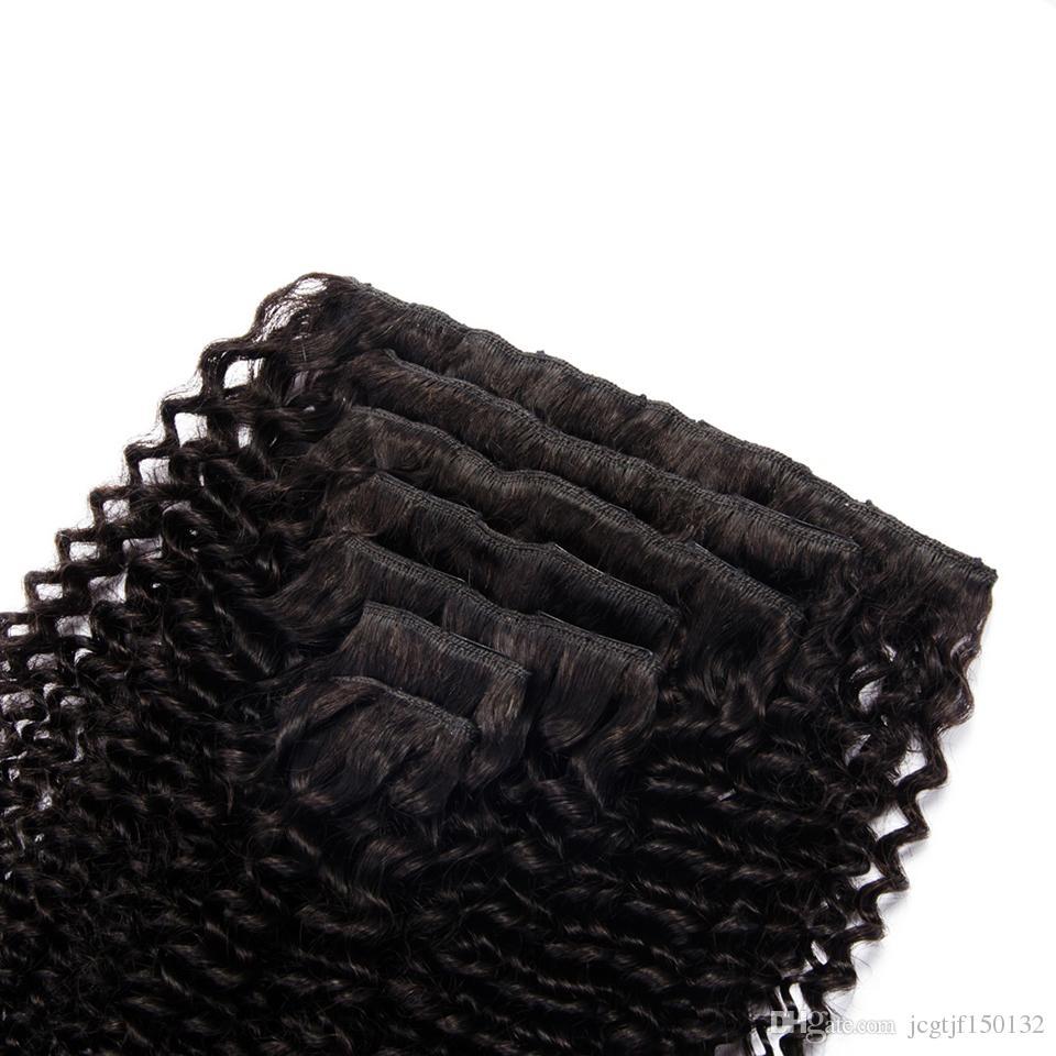 Монгольские странные вьющиеся вьющиеся волосы в наращиваниях человеческих волос 7 шт. 70 г Nautral Color Clip-Tin Head Head Non-Remy Hair