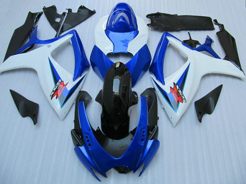 Anpassen für Suzuki GSXR 600 750 Verkleidungssatz GSXR600 GSXR750 Verkleidungen 2006 2007 06 07 Blau-Weiß-Verkleidungen