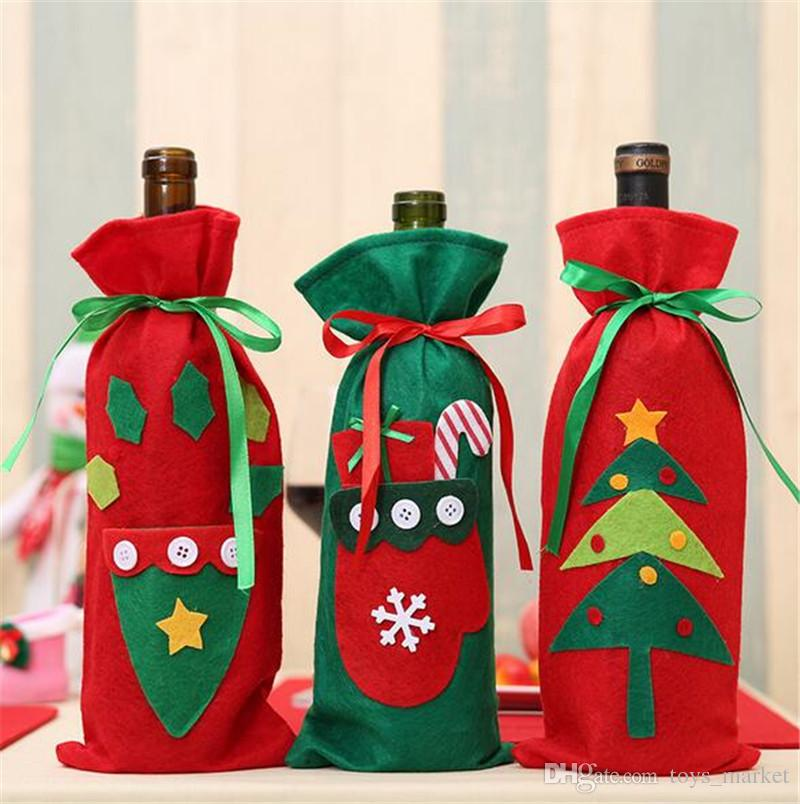 Bottle Christmas Decoration Custom Wine Bottle Bags Christmas Decorations Gift Merry Christmas Bar Decorating Design