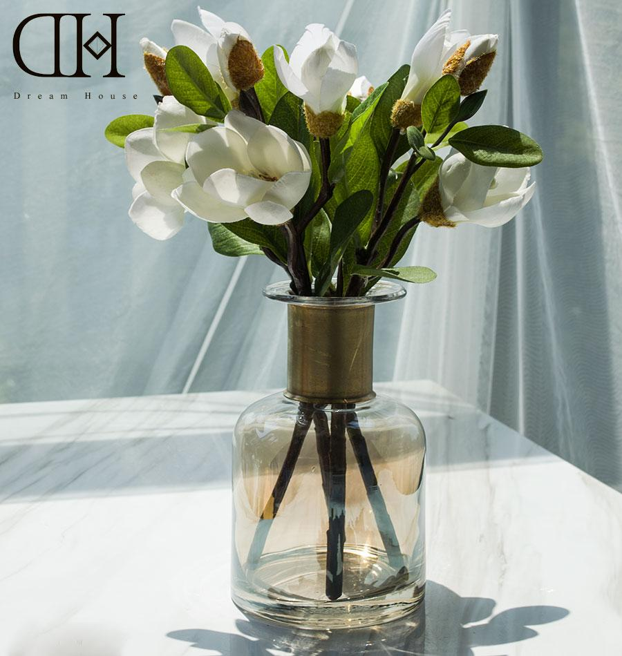 2018 Dh Potted White Magnolia Flowers Home Decoration Glass Vase