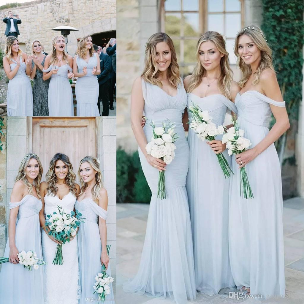 a0aef765479a7 Cheap Beach Country Bridesmaid Dresses 2017 Light Sky Blue Chiffon A Line  Ruched Mixed Neckline Beach Wedding Guest Party Gowns Long Light Blue  Bridesmaid ...