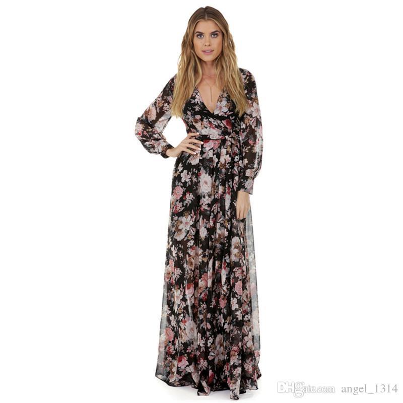 034aa27b3 Compre Mujeres Embarazadas Con Cuello En V Vestido Largo De Gasa Vestido De  Maternidad Para Sesión De Fotos Vestido De Boda Vestidos Maxi De Maternidad  ...