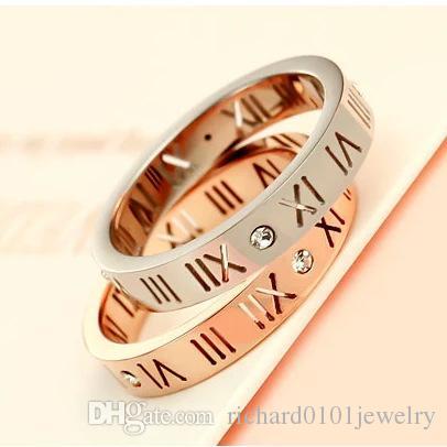 50e095b14e Korean Version Rose Gold Roman Numeral Diamond Band Rings Men And Women  Titanium Steel Couple Tail Ring Lover Ring Fashion Jewelry Wholesale White  Gold ...