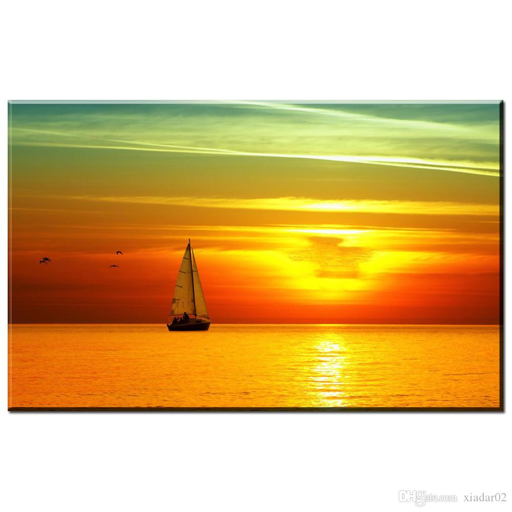 ZZ1249 beautiful canvas pictures prints art sailboat sea sunrise landscape canvas pictures oil art painting for livingroom wall
