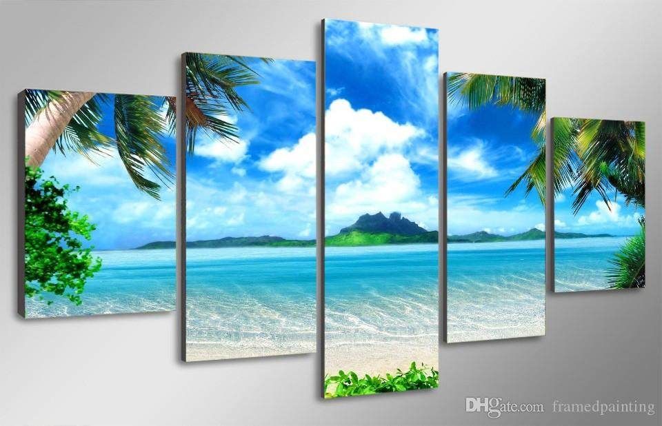 Framed HD Printed Beach Blue Sky Palm Trees Picture Wall Art Canvas Print Room Decor Poster Canvas Modern Oil Painting