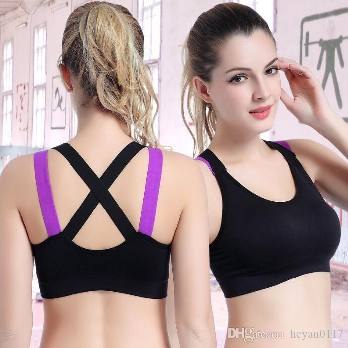 cc99c232eb020 2019 Fitness Yoga Push Up Sports Bra For Womens Gym Running Padded Tank Top  Athletic Vest Underwear Shockproof Strappy Sport Bra Top From Heyan0117