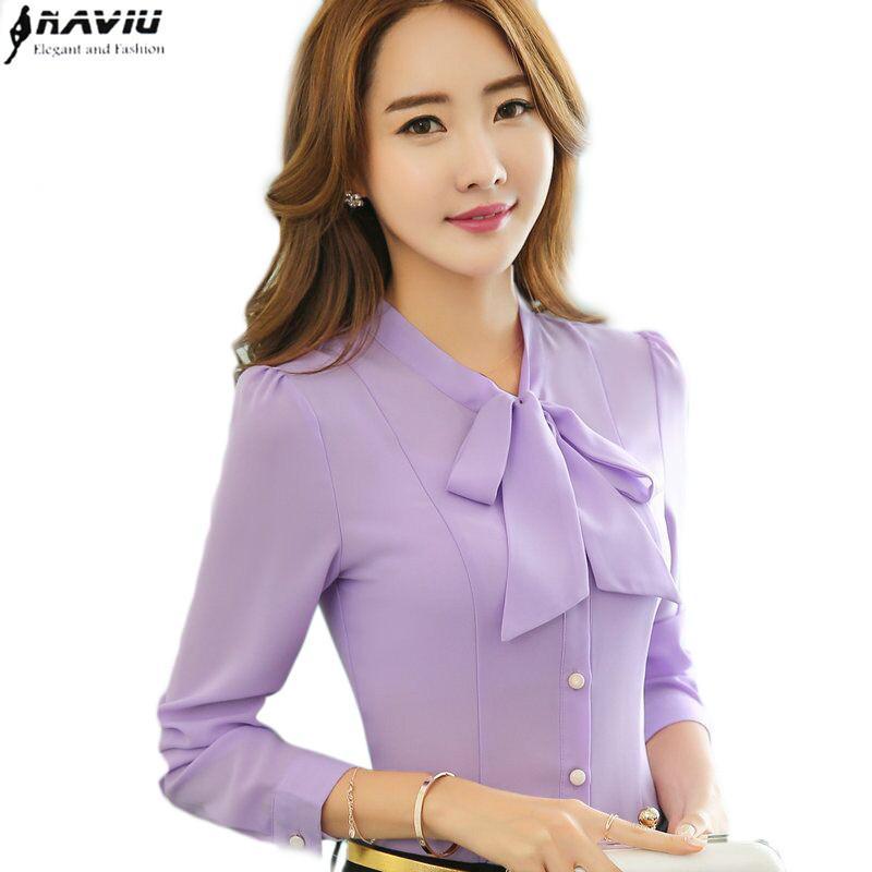 2019 2016 Elegant Bow Lavender Blouses Women Ol Spring Formal Slim