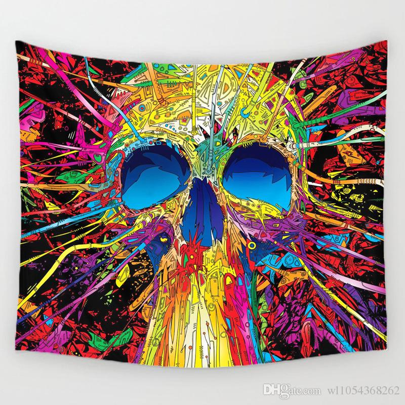 Cloth Wall Hangings mandala colorful skull tapestry wall hanging home decor hippie