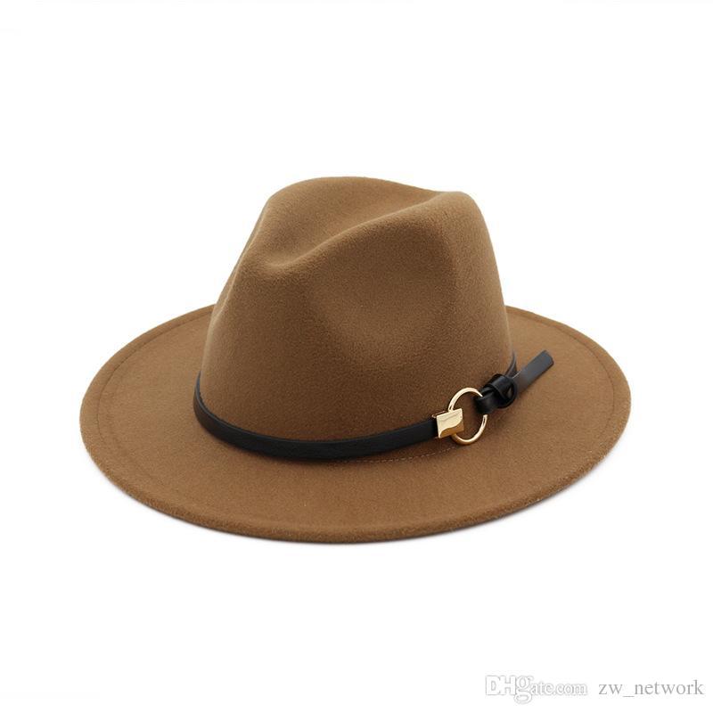 !Fashion TOP hats for men & women Elegant fashion Solid felt Fedora Hat Band Wide Flat Brim Jazz Hats Stylish Trilby Panama Caps