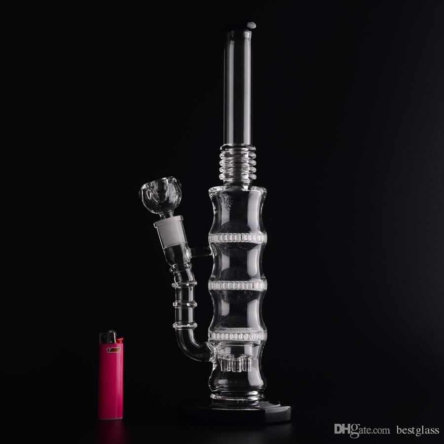 Triple Honeycomb Perc Bong BAMBOO shape 50x5mm Glass Water Pipes Percolator Bongs 6 arms tree perc at BOTTOM White/Black ring
