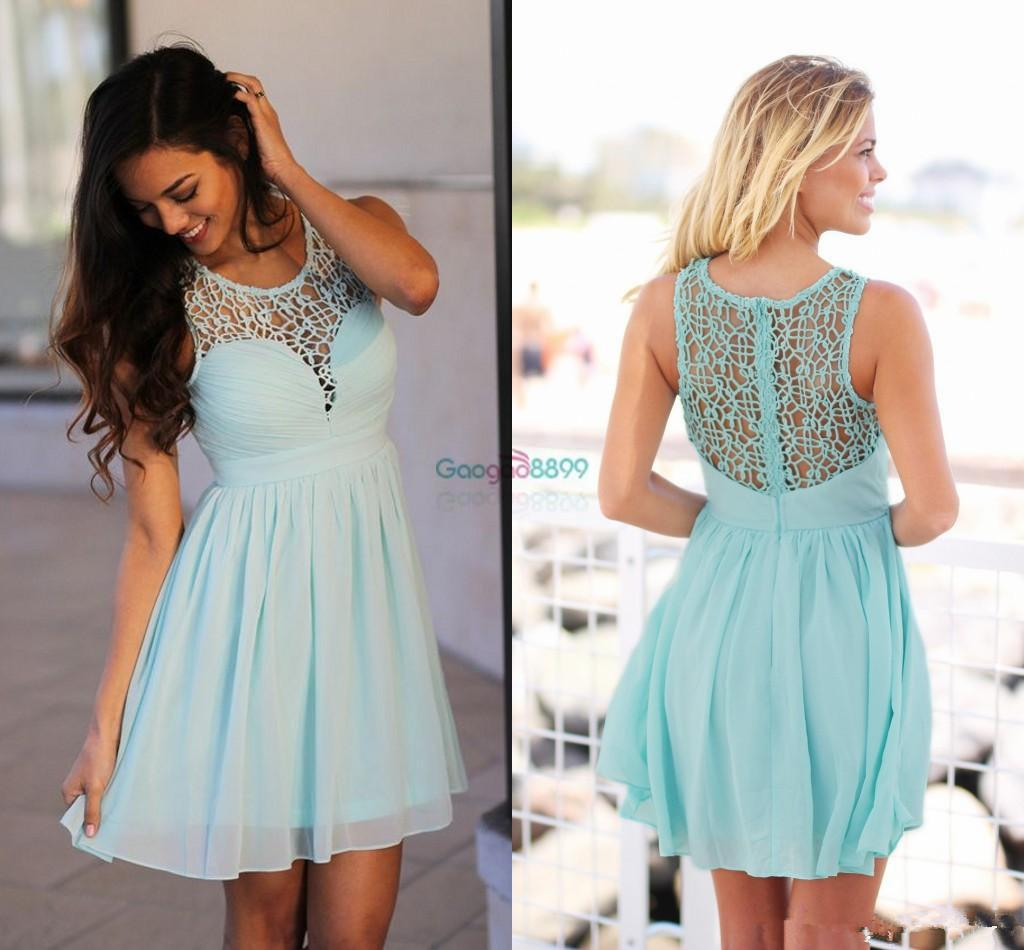 2017 Mint Green Short Country Boho Bridesmaid Dresses Crochet Lace ...