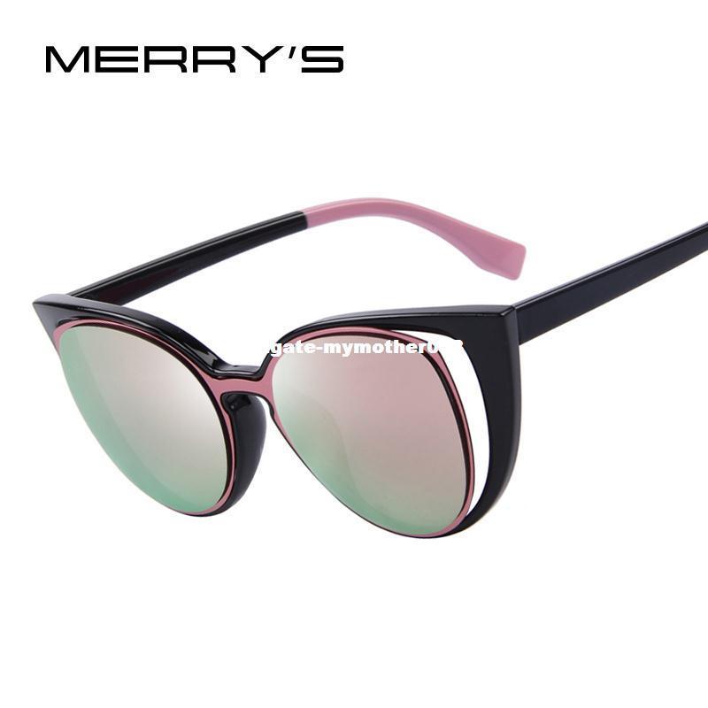 c4a9da35dd3 MERRY S Fashion Cat Eye Sunglasses Women Brand Designer Retro Pierced Female  Sun Glasses Oculos De Sol Feminino UV400 Sports Sunglasses Cheap  Prescription ...