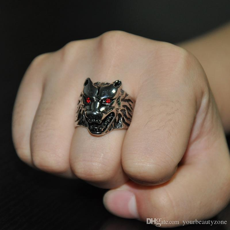 MCW Gothic IP Silver Plated Titanium Stainless Steel Domineering Wolf Head Rings for Men Jewelry