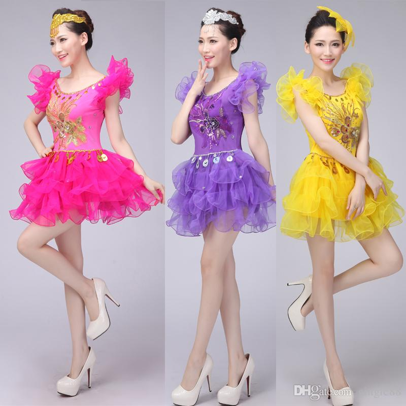 dc0b59117e1a Jazz Dance Costumes For Women Female Sequined Hip Hop Dance Dress ...