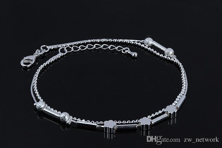 Le moins cher! Bracelet de cheville de plage 20 styles de bijoux de plage nouveaux argent Sterling Double couches de cheville Boot Foot