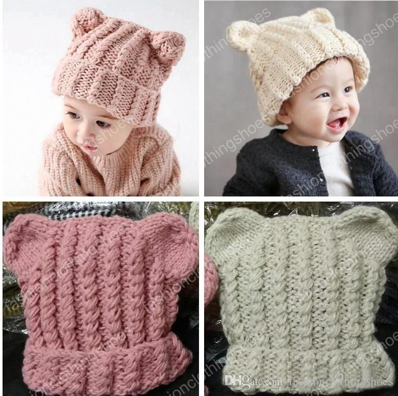 ee74d02d6ee 2019 Baby Cat Ears Hats Beanies 2017 New Winter Kids Warm Caps Children Hats  Handmade Girls Hats Toddlers Slouchy Beanies For Baby Photo Props From ...