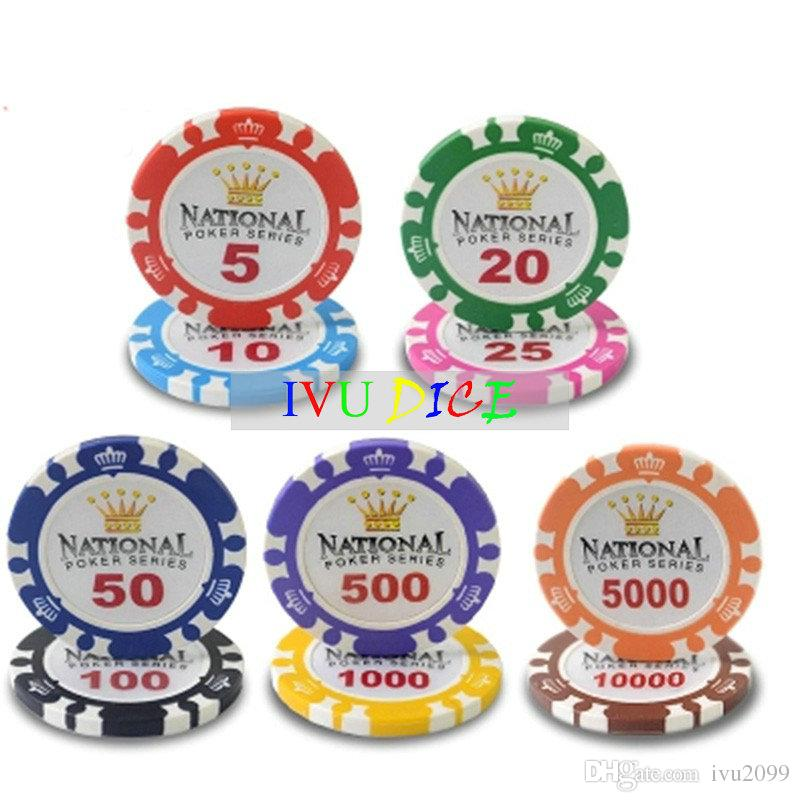 Professional Casino Chip Poker Chips 14g Clay Iron ABS Casino Chips Texas Hold'em Poker Monte Carlo Crown Poker Chips IVU