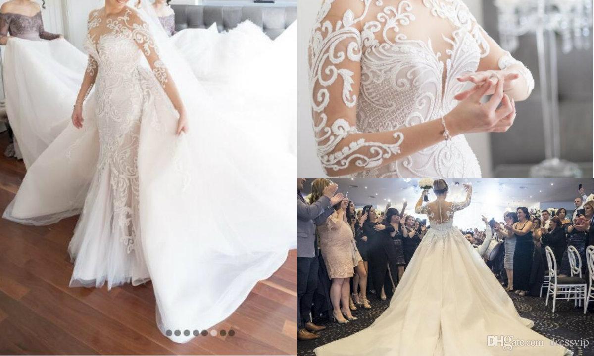 9b7f484cd60 Gorgeous Lace Wedding Dresses With Detachable Train Long Sleeves Wedding  Dress Illusion Steven Khalil Plus Size Bridal Gowns Chapel Train