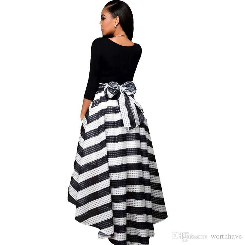 f94fe481aa Compre Cintura Elástica Larga De Verano Vestidos Largos Largos Algodón  Largo Vestido Casual De Mujer Vestidos Negros De Talla Grande A  9.05 Del  Worthhave ...