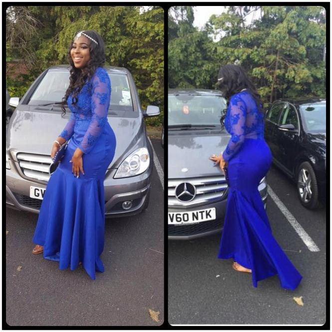 Long Prom Dresses 2018 Sheer Jewel Neck Applique Long Sleeve Floor Length Stretch Satin Royal Blue Mermaid Prom Dress