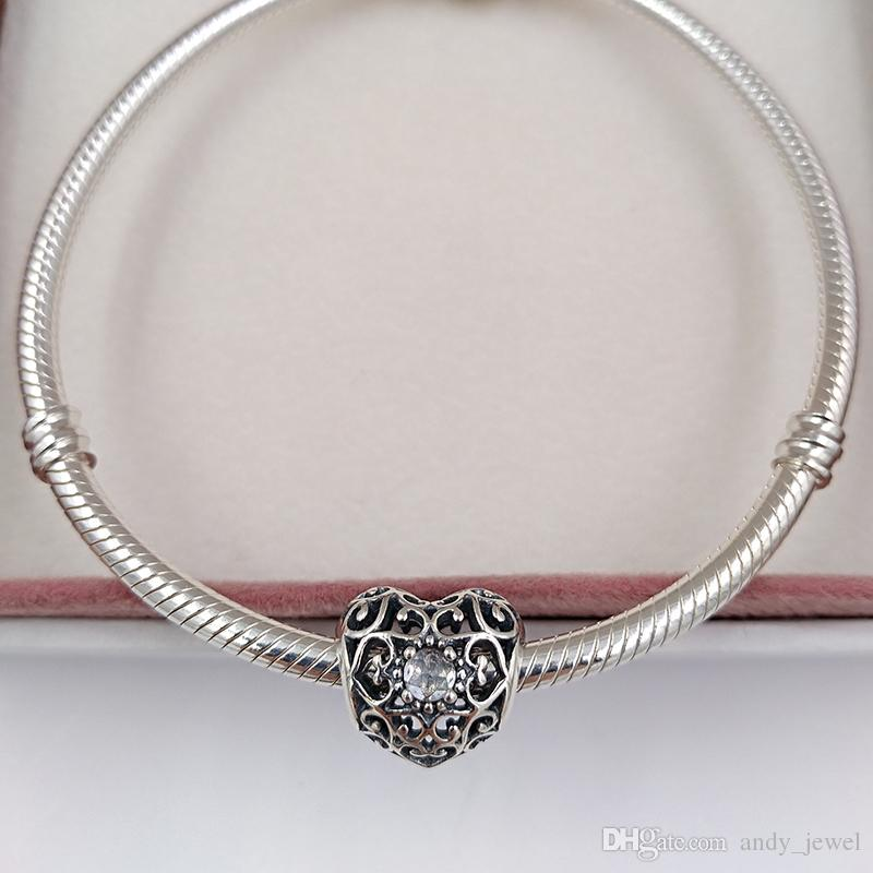 April Signature Heart Birthstone Charm 925 Sterling Silver Beads Fits European Pandora Style Jewelry Bracelets & Necklace 791784RC