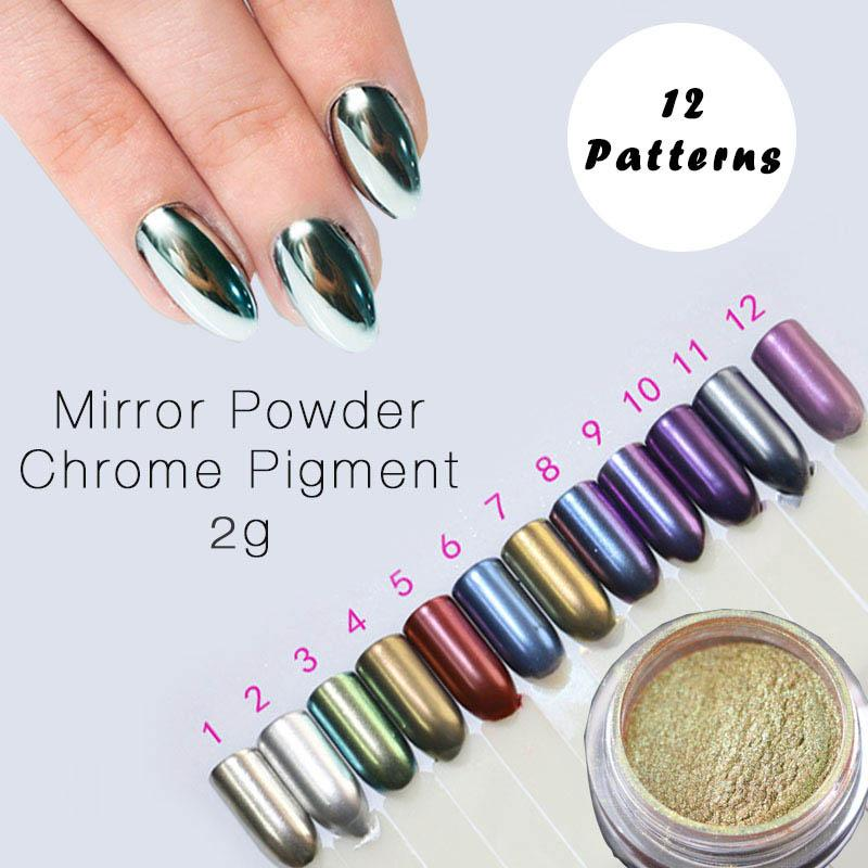 Wholesale 2g New Arrival Silver Gold Chrome Mirror Powder For Nails Effect Pigment Use On Uv Gel 60070 Nail Stamping Tips