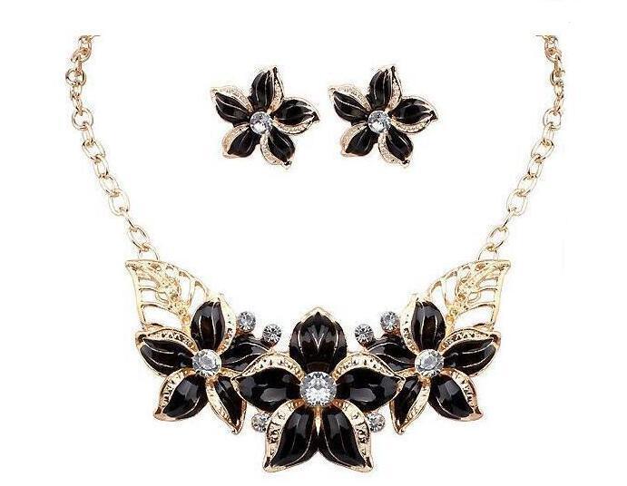 Hot Seling 18 Karat Vergoldet Österreichischen Kristall Emaille Blume Schmuck Sets Mode 2017 Afrikanische Halskette und Ohrring Set für Frauen freies verschiffen