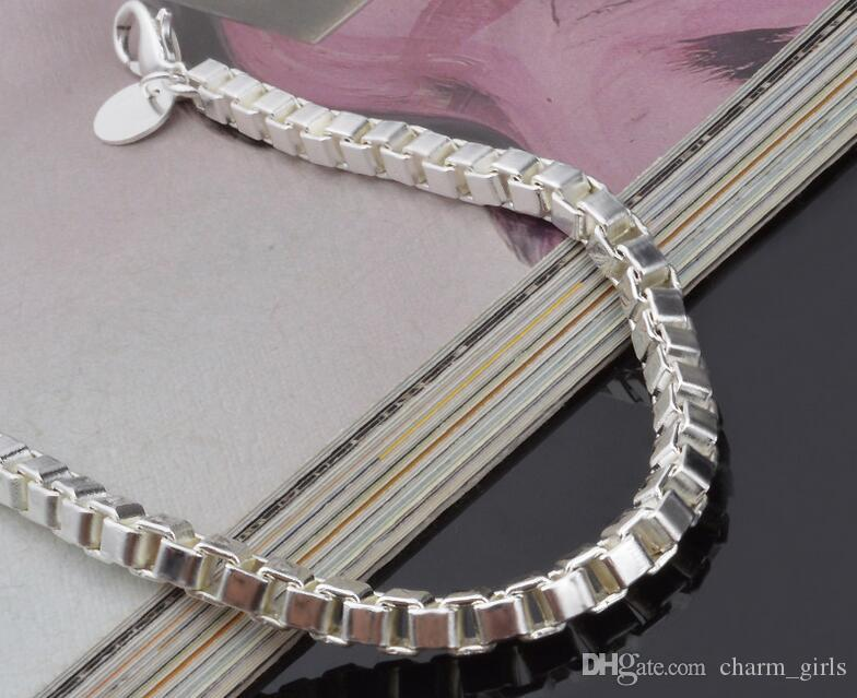 2017 Bästsäljande Mäns Classic Box Armband 925 Silver Armband Silver Smycken 19cm * 4mm / Gratis frakt