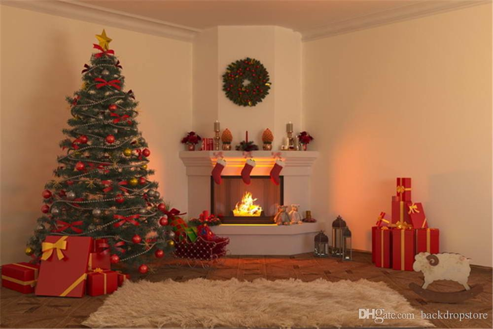 Indoor Fireplace Christmas Tree Photography Background: 2019 Merry Xmas Eve Fireplace Photography Background