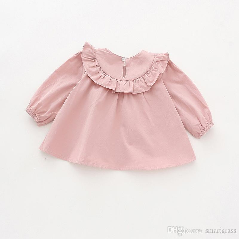 Fashion Design Long Sleeve Shirt Round Neck Autumn 2020 Cotton Baby Girl Clothes Online Shopping Solid Color Girls Shirts 17081904