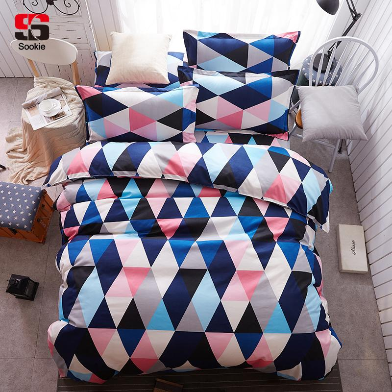 91b2ee3c9f34 Home Textile King Size Colorful Bedding Sets Pretty Geometric Plaid Duvet  Cover Sets Pillowcases Pillow Covers Fine Bedding Grey And White Comforter  From ...