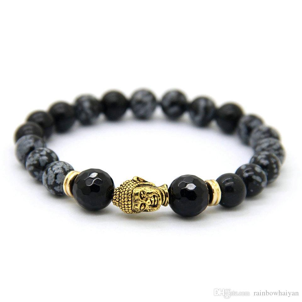 Hot Sale Smycken Snowflake Obsidian Antik Silver Buddha Bracelet Yoga Armband Nya produkter för Herr och Kvinnors Present