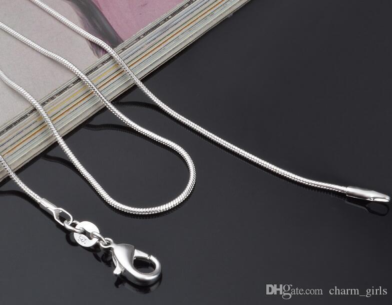 Top kwaliteit plating 925 sterling zilveren slang chain ketting 1mm 16-24 inches mode-sieraden fabriek prijs gratis verzending