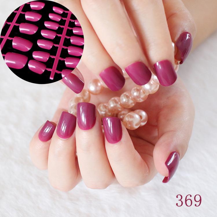 Wholesale /Kit Flat Candy Fake Nails Dark Purple Red Medium Nail Art ...